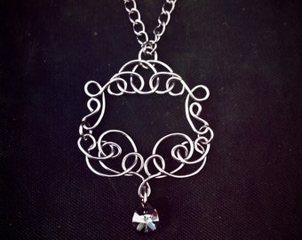 Wirewrapped Necklace, Wire Weave Pendant, Wire Wrap Swarovski Pendant, Silvertone Necklace, Wire Formed Necklace, Wirework Jewelry