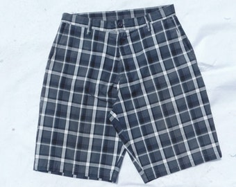 men's Cotton summer Shorts ,Black plaid shorts men -  Men's Bermuda Shorts -summer beach shorts men - size -32 shorts men, # 48