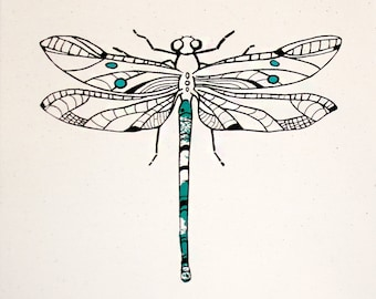 Dragonfly Screenprint on Raw Canvas 12 x 12 Inch Art Print