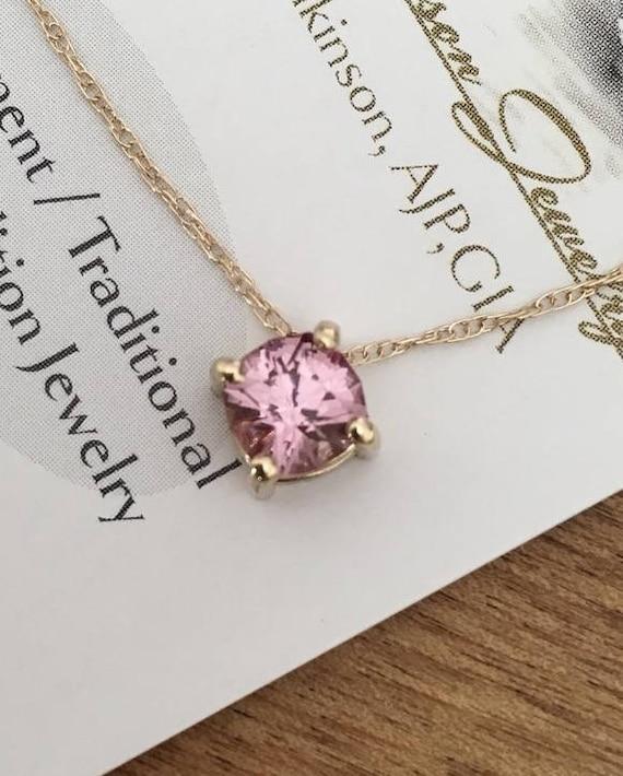 Mahenge Peachy Pink Garnet Slide Necklace Cushion Cut