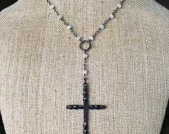 White Y & Cross Necklace