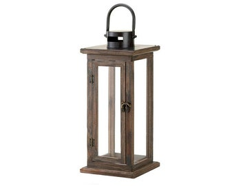 15 Inch Lodge Wood Lantern - Wall Lantern - Hanging Lantern - Housewarming  Gift - Rustic Home Decor - Wedding Gift