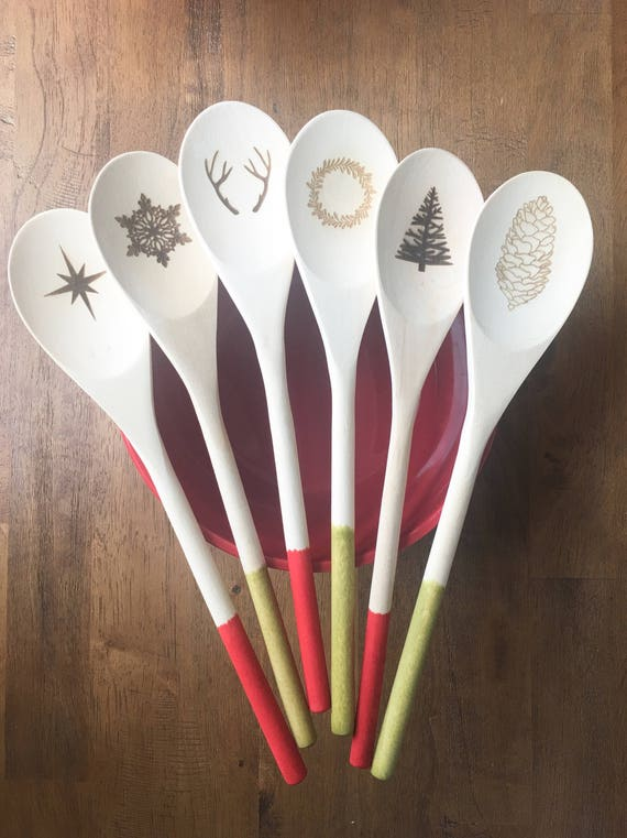 Colorful Spoons: Holiday Wooden Spoons Color Dipped-Laser Engraved Wooden