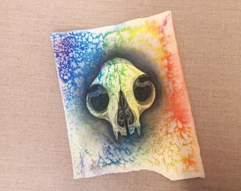 Original art cat skull rainbow watercolor painting drawing