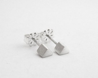 Minimal Studs, Simple Silver Studs, Mens Studs, Sterling Studs, Everyday Studs, Tiny Sterling Silver Studs,  Triangle Studs