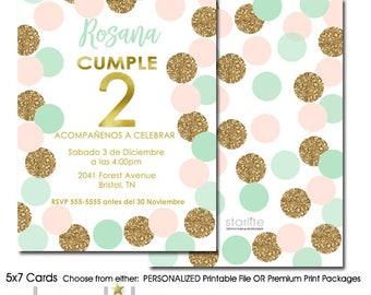 2nd Birthday Invitation Girl Spanish, Spanish 2nd Birthday Invitation, Mint Pink Gold Glitter Birthday Invite ANY AGE Spanish, Printable