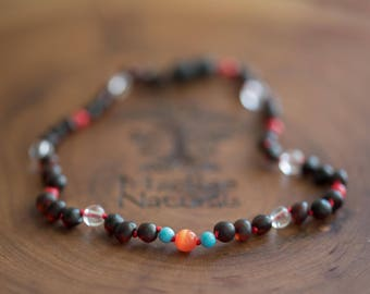 Raw Baltic Amber Teething Necklace in 'Sandy'- Custom MacRae Naturals Jewelry