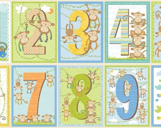 SUPER CLEARANCE! Little Monkey Numbers Panel in Multi - Adorable Kids Cotton Quilt Fabric - by Sharon Kropp for Blend Fabrics (W12)