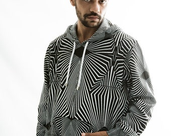 Sacred G , Hoodie , Mens clothing , festival clothes, Sacred geometry ,black and white , boho , chic , pull over, gift for him , tattoo
