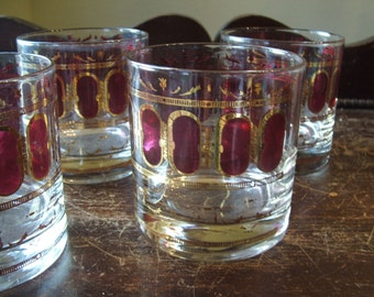Set of 4 1960s Tumblers with Gold and Ruby Accents