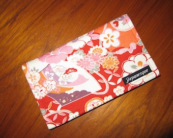 Checkbook Cover Japanese Asian Floral and Fans Design