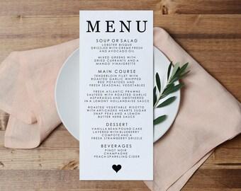 Menu Printable Template, DIY Printable Wedding Menu, Editable PDF Dinner Menu, Event Menu, Wedding Editable Menu Printable