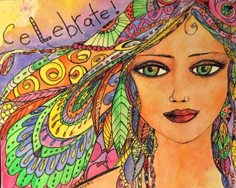 Celebration Angel - Original Watercolor and Mixed Media Art