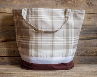 Large Plaid Tote Bag Extra Large Bag Grocery Reusable Bag  Natural Beach Bag Shopping Bag Custom Tote Revesible Tote bag