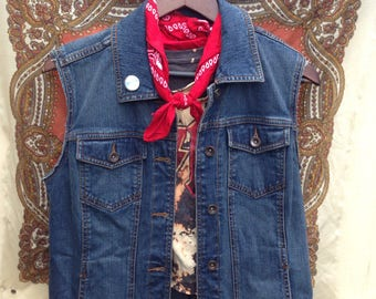 DENIM VEST American Made Battle Jacket ROCK n Roll Metal AcDc Patched Pin