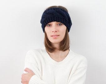 Cable Knit Ear Warmer Headband, Wool Blend   THE ZÜRICH in Navy