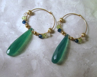 Green Chalcedony Hoops with Apatite, Peridot & Aquamarine, Gold Filled, Wire Wrapped