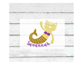 Mermaid Iron On, Mermaid cat iron on, Mermaid birthday, Personalized iron on, Shirt decal for girl, DIY Mermaid, Mercat, Mermaid cat design