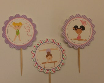 Gymnastics cupcake toppers