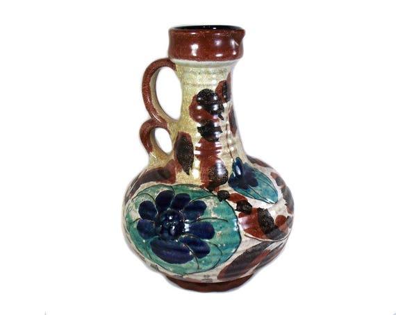 West German Vase/Floral Marei Keramik Vase with Handles/West German Pottery/West German Ceramics/Mid Century Modern/German Keramik Vase