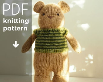 """BEAR TOY knitting pattern, knitted bear toy PDF tutorial instant download, step by step instruction how to knit 10"""" Teddy Bear toy"""