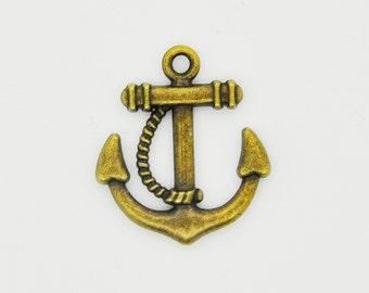 Bronze Anchor Charm Necklace, Anchor Pendant, Bronze Anchor Charm Pendant