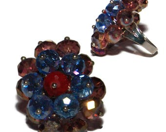 Adjustable ring Brown clairPORT free FRANCE glass crystal bead