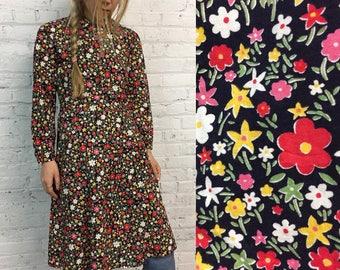 vintage handmade floral print dress / long sleeved flower child dress / psychedelic hippie pop art floral a line dress