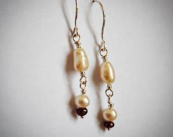 Freshwater Pearl and Garnet Drop Earrings