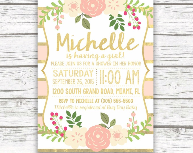Peach and Gold Foil Striped Baby Shower Invitation, Pink Floral Boho Baby Girl Invite w/ Matching Back, Printed or Printable Invitation
