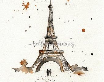 Eiffel Tower Art, Wall art, Paris painting, watercolor print