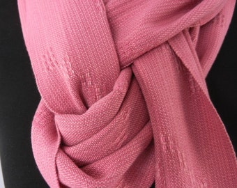 Pink Handmade Scarf, Handwoven Lace-Weave Women's Scarf, Bamboo Hand Loomed Spring and Summer Accessory
