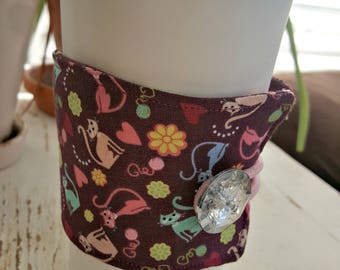 Meow Kitty Cat Java Jacket/Coffee Sleeve with Vintage Button/Coffee Cup Cozy/Reusable/Mug Cozy - FREE SHIPPING