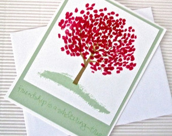 Friendship is a sheltering tree card handmade stamped friendship green pink stationery greeting home living