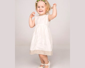 Girls linen dress white, baptism dress linen, summer dress, baby girl dress, white linen dress, festive dress