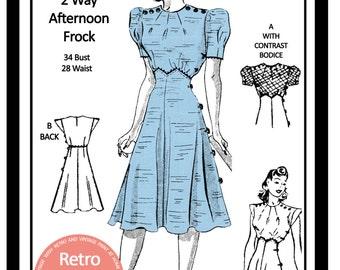 1930s  Tea Frock Sewing Pattern - Full Size PDF Dress Sewing Pattern - PDF  Instant Download