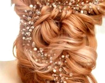 Extra long hair vine Crystals Bridal Wedding wedding hair vine long hair vine Bridal hair vine babys breath hair piece Crystal hair piece
