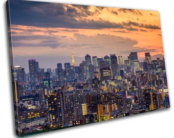 Tokyo Japan Skyline Cityscape Canvas Print Home Decor- Abstract Wall Art - Modern Prints - Ready To Hang