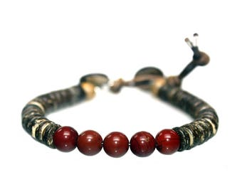 Bracelet Classic B8 – Redstone, coconut and leather 606