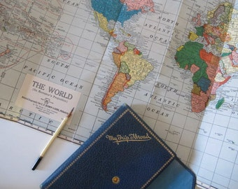 Vintage 1950s 1960s My Trip Abroad Travel Journal in Navy Blue Global Jet Set with Map
