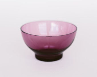 Mid-Century Small Plum Smoked Glass Bowl Made in Sweden