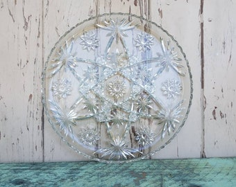 Large Vintage Platter in Texaco Star Pattern - Star of David Glass Plate, Pressed Glass, Serving Ware, Sandwich or Snack Tray, EAPG Platter