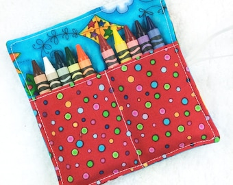 Boy crayon roll, girl crayon roll, small coloring case, child crayon wallet, crayon organizer, mini crayon holder, toddlers gift party favor