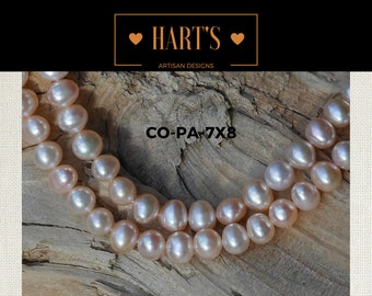 Pink Cultured Pearl Strand Necklace Silk Hand Knotted  COPA-7X8