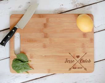 Personalized Cutting Board, Engraved Bamboo Wedding Cutting Board, Engraved Anniversary Gift, Personalized Wedding Gift, Wood Chopping Block