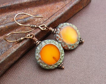 Orange Glass Earrings with Artisan Wires, Fiery Rustic Bohemian Czech Glass & Copper Bronze, Earthy Boho Gift for Mothers Day, Gift for Her