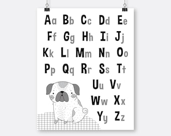 Black White Alphabet Art Printable Pug Puppy , Homeschool Toddler Wall Art Alphabet,  Toddler Room Wall Art, Big Boy Art Toddler