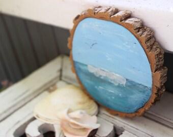 Coastal Fine Art Seascape on Wood Slice , Seaglass Art , Nautical Home Decor