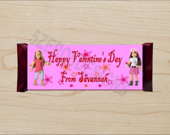 Valentines Day Candy Wrapper, Personalized Valentines Day Candy Wrapper, Valentines Day Hershey Wrapper, American Girl Valentine