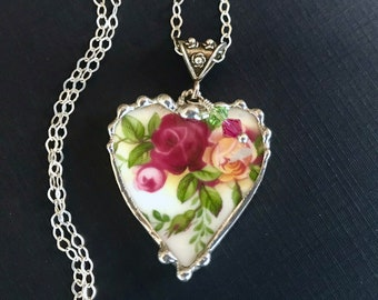 Necklace, Broken China Jewelry, Broken China Necklace, Heart Pendant, Old Country Rose, Sterling Silver, Soldered Jewelry